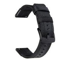 Pulseira de relógio de 22mm, pulseira de nylon e couro de luxo tecido para samsung gear s3 frontier/s3 classic/huawei relógio 2pro/garmin fenix chronos