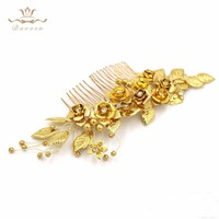 Handmade European Gold Leaves Hair Combs Shinny Nature Pearls Barrettes Wedding Dress Hair Accessories