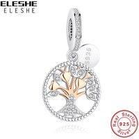 ELESHE 2017 New 925 Sterling Silver Tree Of Life Gold Beads Charms Fit Original Pandora Bracelet