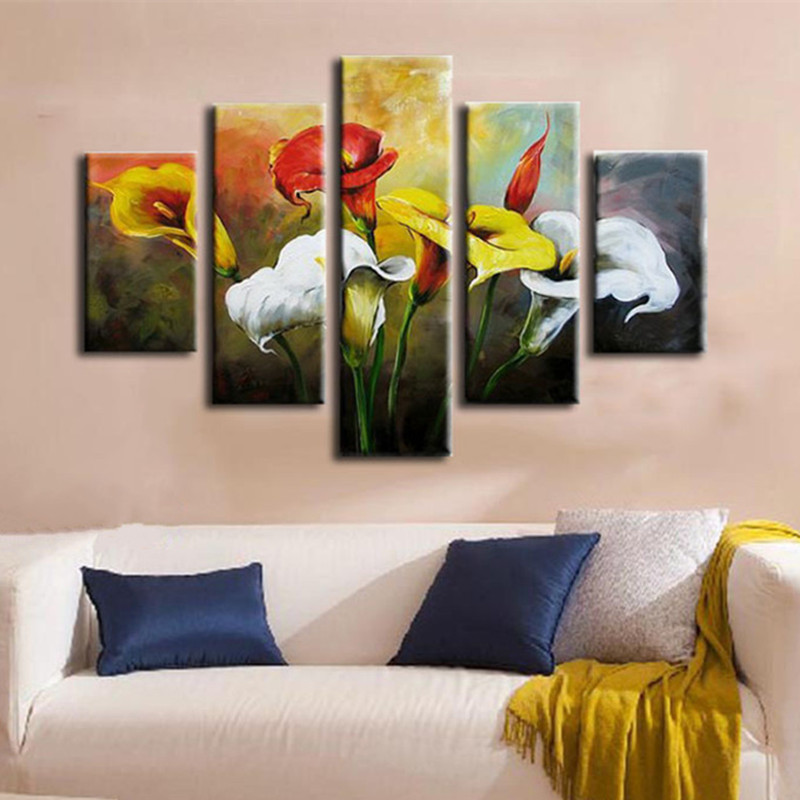 Large Home Art 5 Piece Canvas Pictures Handpainted Abstract Lily Flower Oil Painting Handmade Red White Yellow Floral PaintingsLarge Home Art 5 Piece Canvas Pictures Handpainted Abstract Lily Flower Oil Painting Handmade Red White Yellow Floral Paintings