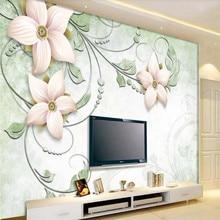 цена на Custom mural dreamy stereo flower flower vine TV background wall decoration painting wallpaper mural photo wallpaper
