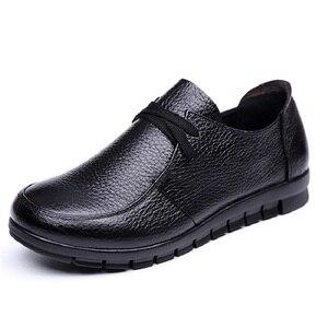 Image 3 - Designer de ballet feminino apartamentos preto mocassins couro genuíno sapatos casuais 2019 novo buty damskie baixo calcanhar chaussure femme