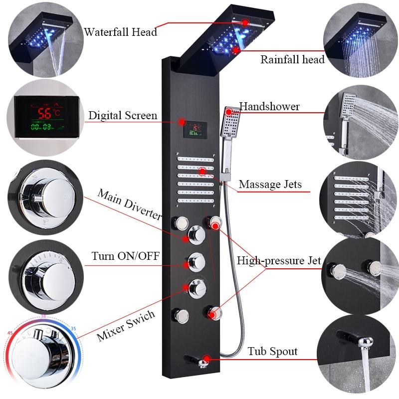 HTB1LuVMakY2gK0jSZFgq6A5OFXav - Newly Luxury Black/Brushed Bathroom Shower Faucet LED Shower Panel Column
