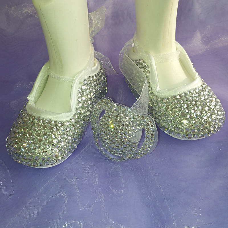 Sweet silver rhinestone Crystal Baby Girl's shoes handmade Bling diamond kids soft First Walkers child shoes and pacifier 3368