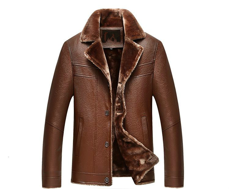 Freeshipping Hot Sale Winter Thick Leather Garment Casual Flocking Leather Jacket Mens Clothing Leather Jacket MenM-4XL