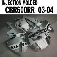 Fairing kit For Honda CBR600 2003 2004 cbr 600 04 03 (Silver Repsol+cowling ) Fairings Customize free l91