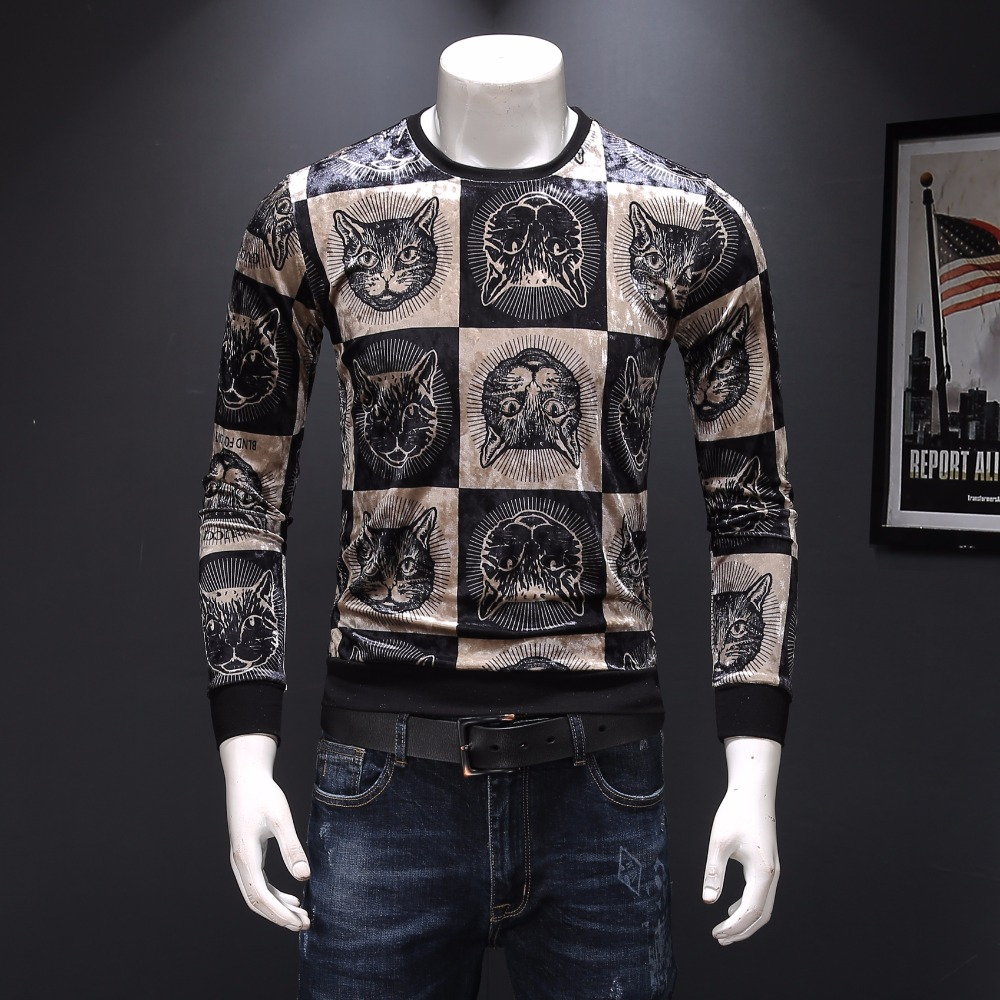 T801 Creative cats pattern 3d print fashion luxury long sleeve t shirt Autumn 2019 quality cotton soft elastic t shirt men M 3XL