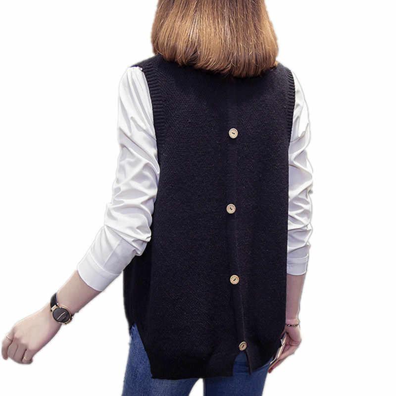Mode Patchwork V-hals Vrouwen Gebreide Vest Preppy Stijl Losse Plus Size Veste Femme Trui Trui Koreaanse Mouwloze Vesten