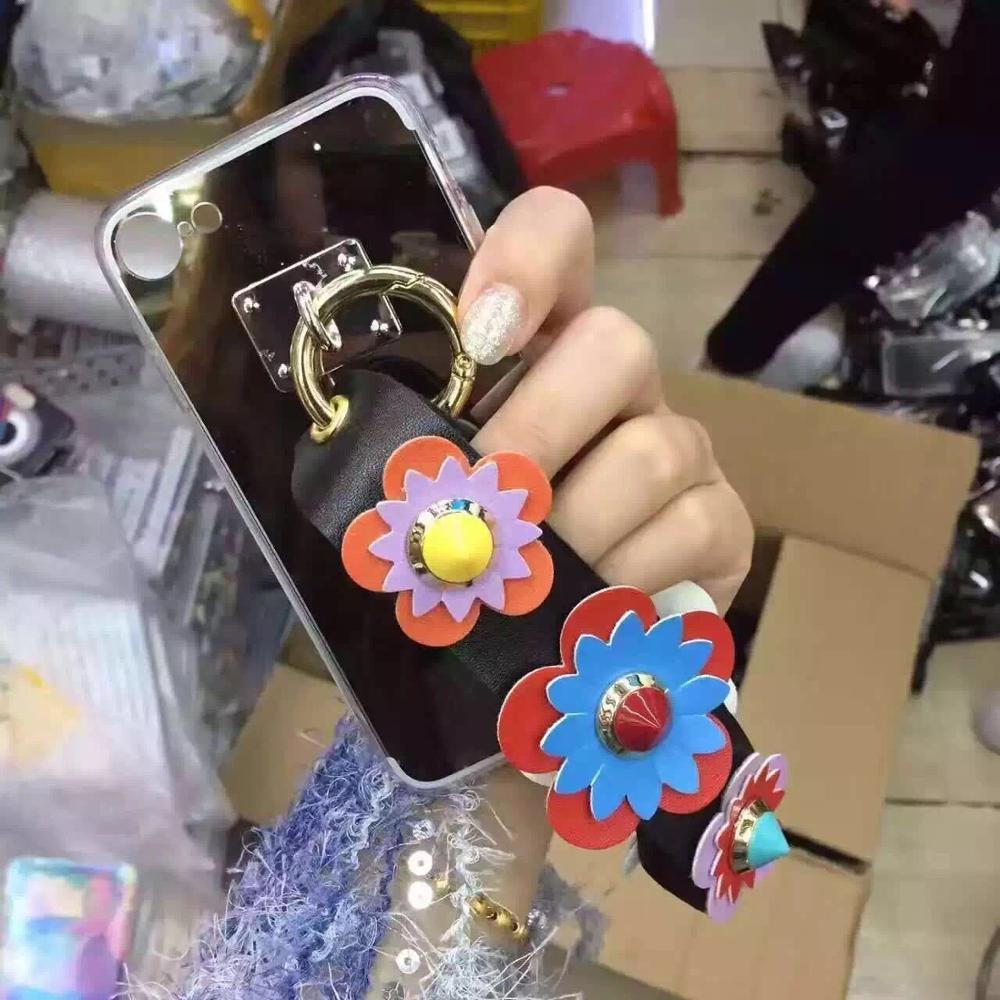 10pcs/lot Korea Design Rivets Ring Charm Mirror TPU Back Cover Case For iPhoneX 6s/8 7plus S8 Skinny Shell Body Protection