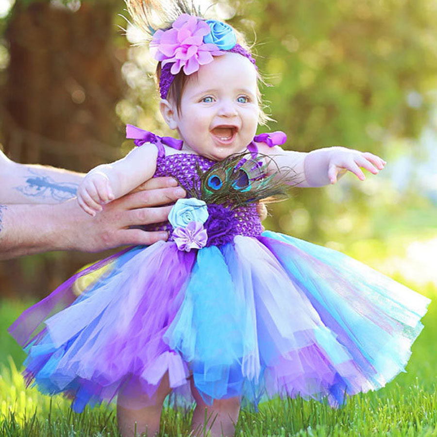 Rainbow Baby Girls Tutu Dress Fluffy Peacock Infant Dress Colorful Toddler Party Clothes Halloween Birthday Costume Clothing
