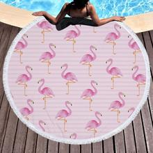 Customize Beach Towel Round Microfiber/Polyester Crane Printing Tassel Soft Swimming 150*150cm Drop Shipping