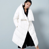 BC039 New Arrival 2016 women outwear fashion large stand collar loose long white duck down jacket winter coat
