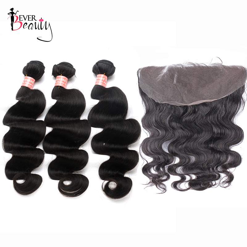 Body Wave Human Hair Bundles With 13 6 Closure Ever Beauty Brazilian Hair Weave 3 Bundles
