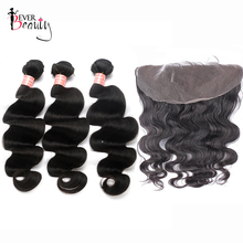 Body Wave Human Hair Bundles With 13*6 Closure Ever Beauty Brazilian Hair Weave 3 Bundles With Lace Frontal Remy Hair