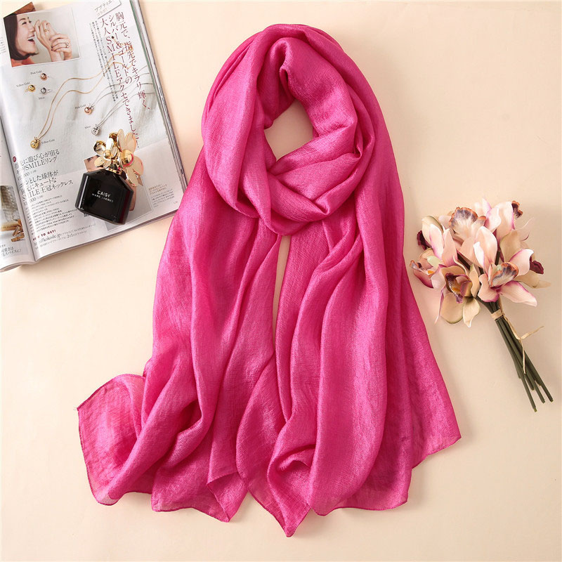 2019 Designer Brand Women   Scarf   Linen   Wraps   Shawls and   Scarves   Ladies Silk   Scarf   Hijabs Solider Color Soft Beach   Scarves