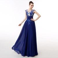 New Arrival Elegancki Prawdziwe Próbki Royal Blue Suknia Linia Rękawy Cap Długa Szyfonowa Z Sashes Strona Formalna Suknia Plus Size