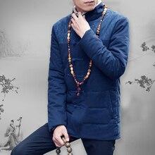 Кнопки Пластины китайский Стиль Хлопок Моды Большой Размер мужская Повседневная Этнический Стиль Вышивки Толщиной Воротник Пальто Пальто Куртки М-5XL