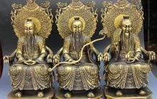 "16 ""Pure Bronce Talismán Taoísta SanQing Estatua Emperador 3 Dios Conjunto Completo Ruyi Fa Qi"