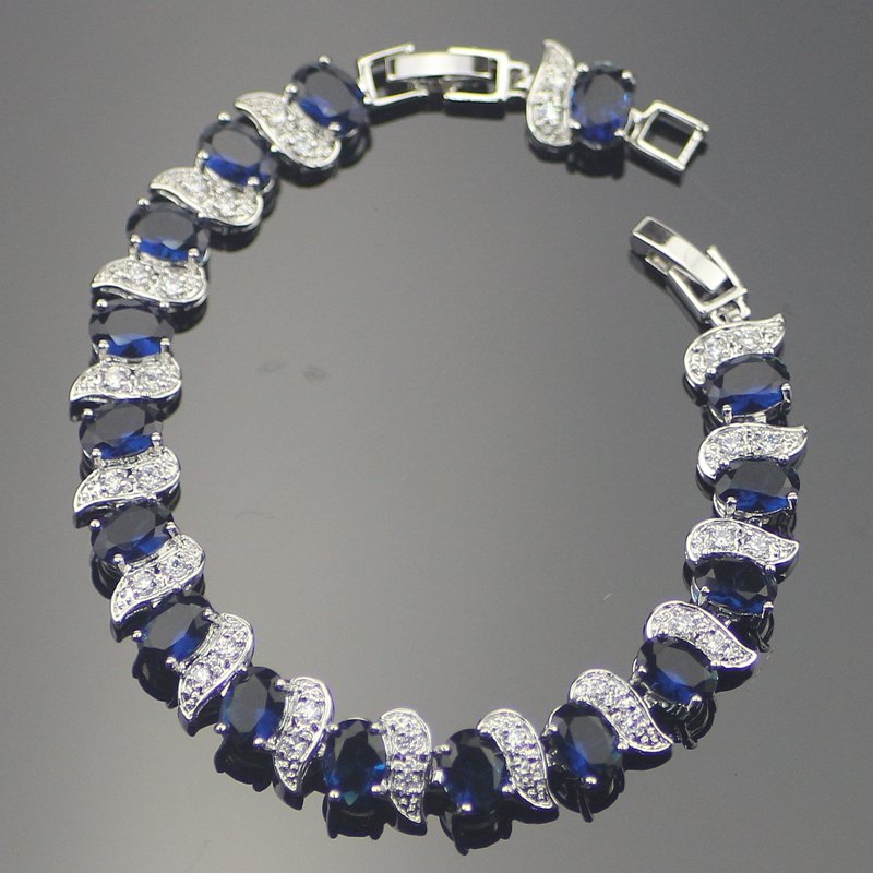 High Quality Trendy Blue Cubic Zirconia Sterling Silver Bracelets For Women Length 7+1 Inch Free Gift Box