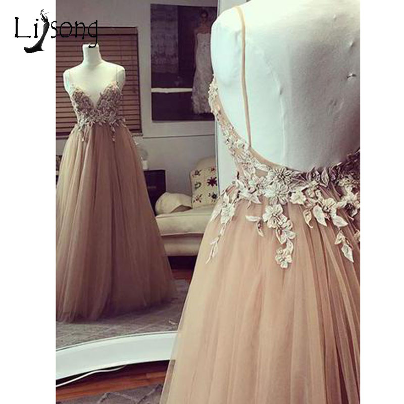 Champagne Backless 3D Flower Prom Dresses 2018 Cheap Tulle A-line Long Prom Gowns Sexy Formal Dress Robe De Soiree Longue