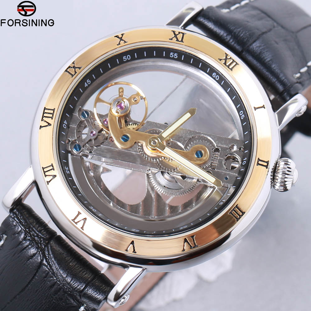 Forsining Top Brand Luxury Self Wind Automatic Mechanical Watches relogio Men Rose Gold Case Genuine Leather Skeleton Watches все цены