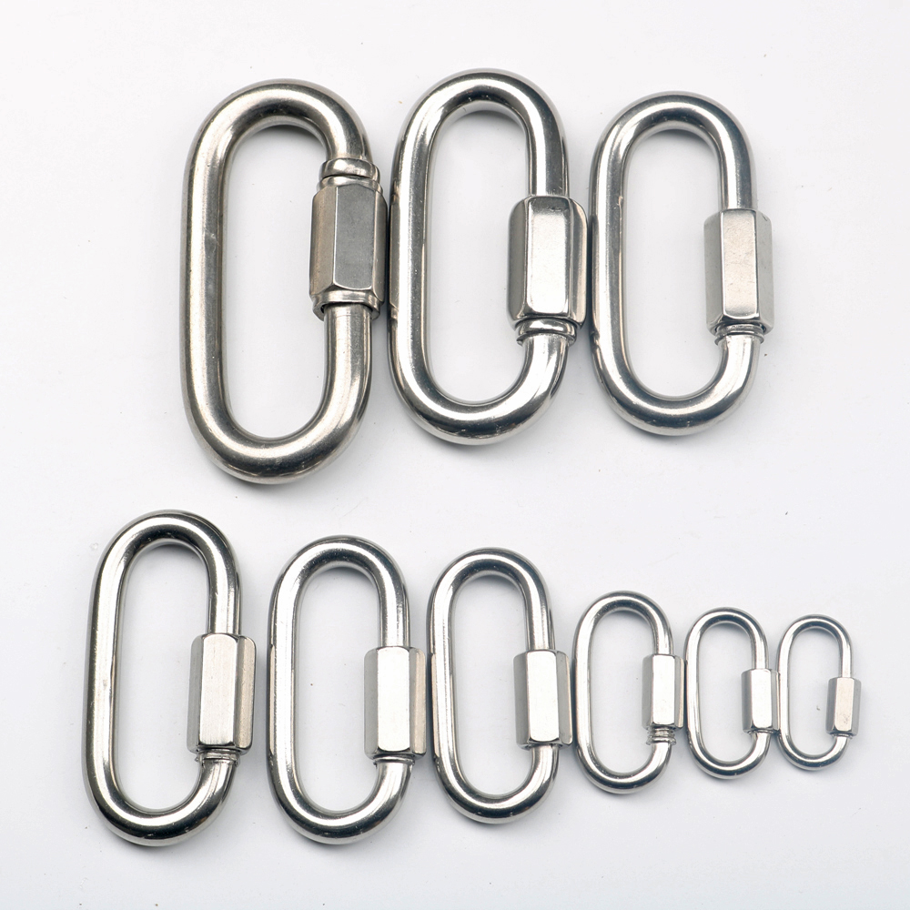 5pcs Multifunctional Stainless Steel Quick Oval Screwlock Link Lock Carabiner M5