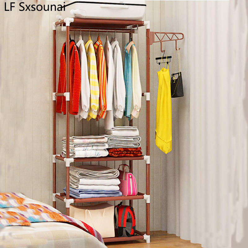 LF Sxsounai Simple Coat Rack Floor Hanger Creative Clothing Rack Bedroom Shelf Foyer Storage Iron Hanger Mobile Storage Wardrobe