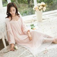 Princess sweet Sleepwear Women Sexy Negligee Gown Bow Modal Nightgown Long Nightdress Ladies Sleepwear s782