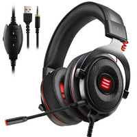 EKSA Gaming Headphones Wired Gamer Headset Virtual 7.1/ 3.5mm Over Ear Headphones With Noise Cancelling Mic For PC/Xbox/PS4 etc