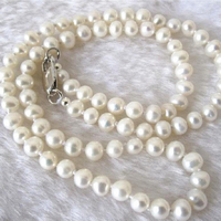 New 2014 Fashion Style Diy 7 8mm White Akoya Cultured Pearl Necklace 18 AA GE4027