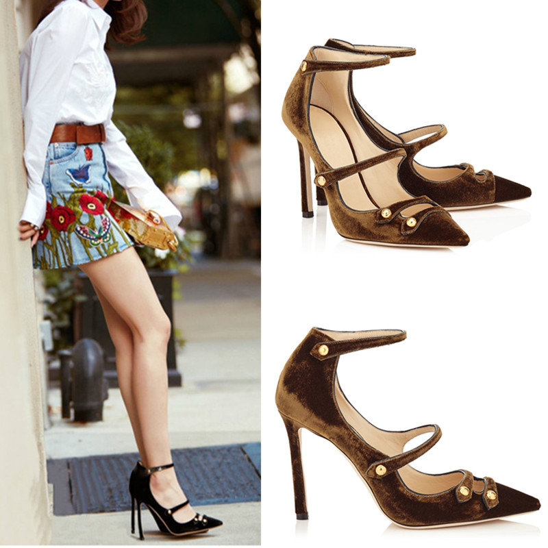 ФОТО New Pleuche Retro Pointed Mouth Shallow Single Shoes Sexy High-heeled Shoes Heel Strap Shoes Mary Jane Shoes