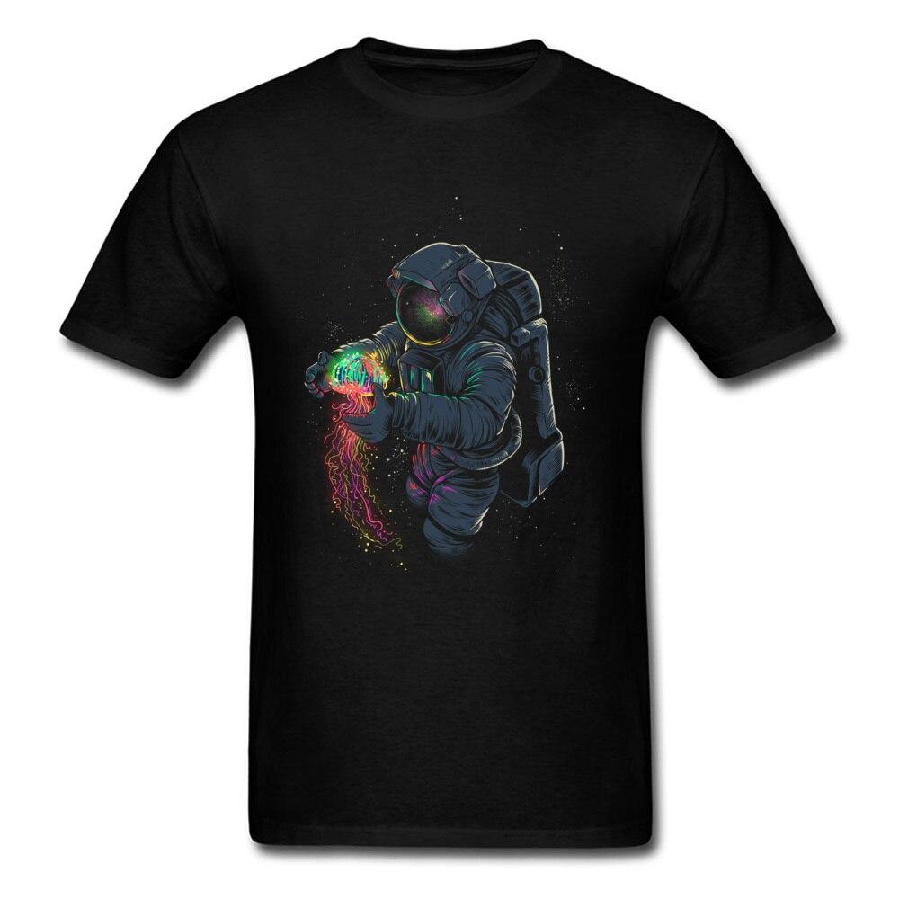 Mens Camisetas JellySpace Camiseta Novidade Design Homens Tshirt Astronauta Medusa Impressão Roupas de Verão de Algodão Top Tee Transporte da gota