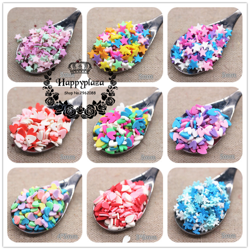 30g Mix Colors Polymer Clay Heart/Star/Flower/Bow/Snowflake/Round/Dice Slice/Granular For Phone Case/Bread Crumbs DIY