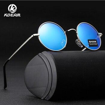 b38e286b9d KDEAM 2019 nuevo gafas de sol redondas de recubrimiento Retro de las  mujeres de los hombres, diseñador de marca, gafas de sol Vintage espejo  gafas de KD801