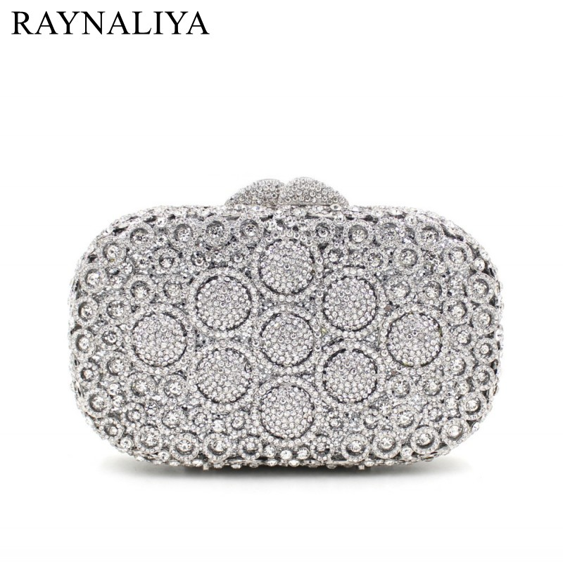 Newest Crystal Clutch Bag Flower Female Evening Bag Diamond Studded Handbags Women Wedding Bridal Party Prom Purse SMYZH-E0025