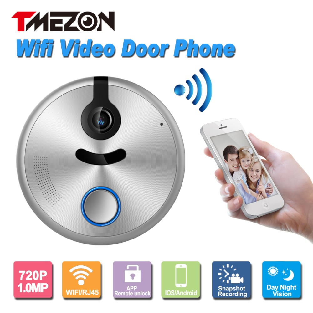 bilder für Tmezon Entsperren Per Telefon Drahtlose Wifi Video-türsprechanlage Intercom 720 P HD 1.0MP Outdoor-dome-kamera Ip-türsprechanlage IOS Android P2P