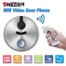 Tmezon Unlock By Phone Wireless Wifi Video Door Phone Intercom 720P HD 1.0MP Outdoor Dome Camera IP Doorphone IOS Android P2P