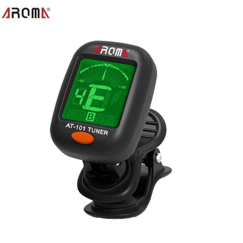 AROMA AT101 360 Mini LCD Clip Tuner Chromatic Clip-On Digital Tuner For Acoustic Electric Guitar Bass Violin Ukulele sews et33 portable guitar tuner color screen digital tuner clip on design for chromatic guitar bass ukulele violin free shipping
