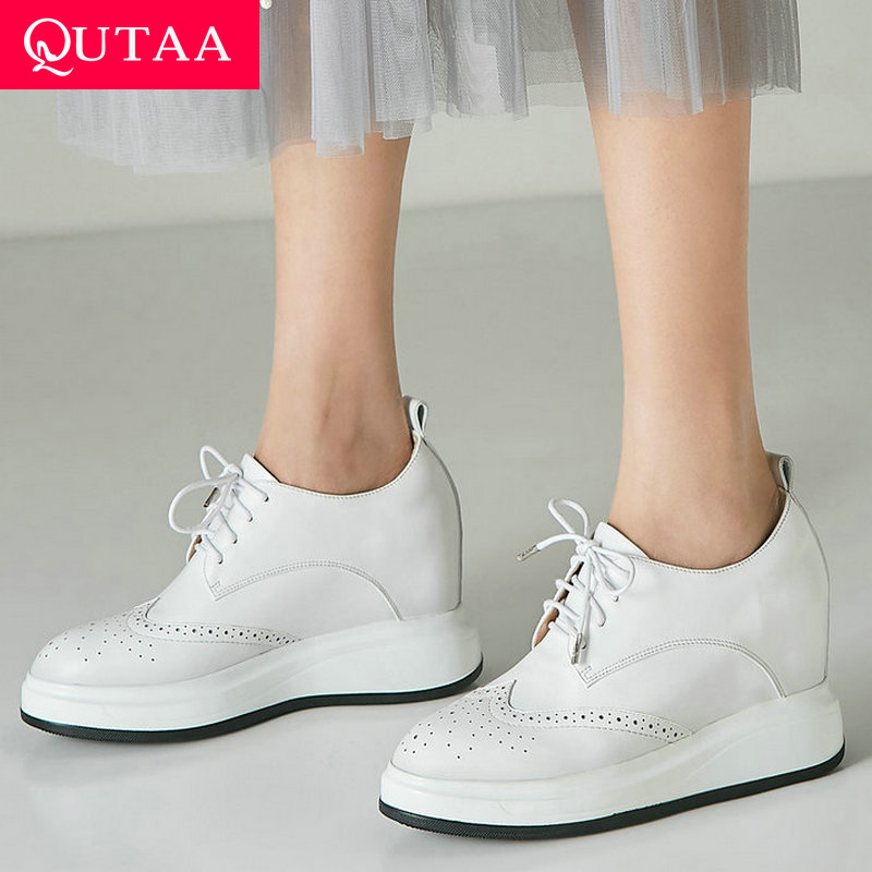 QUTAA 2020 Women Pumps Fashion Lace Up Platform Wedges Heel All Match Cow Leather pu Round