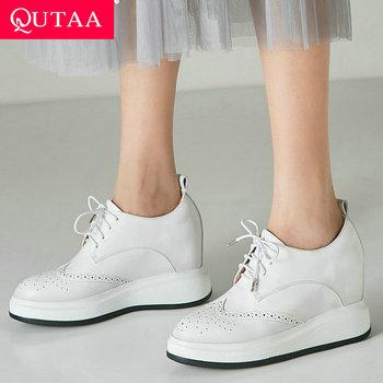QUTAA 2020 Women Pumps Fashion Lace Up Platform Wedges Heel All Match Cow Leather+pu Round Toe Fashion Women Pumps Size 34-39