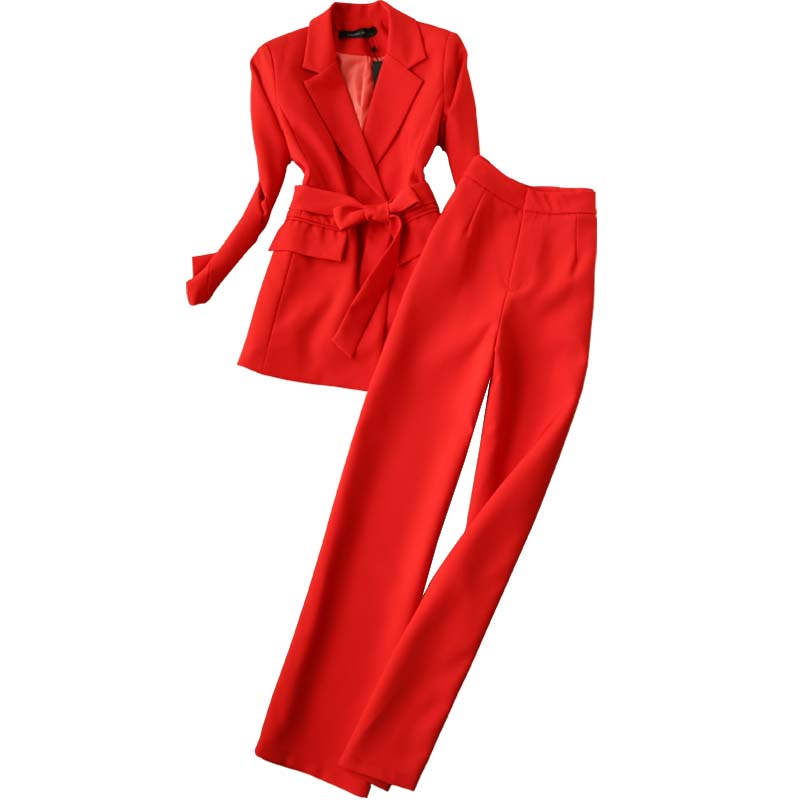 Red Suit Set 2019 New Women's Spring And Autumn Fashion OL Temperament Jacket And Wide Leg Pants Elegant Two-piece Suit