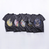 New cotton washing Tarot star trial old printed constellation compass loose short sleeved T shirt top
