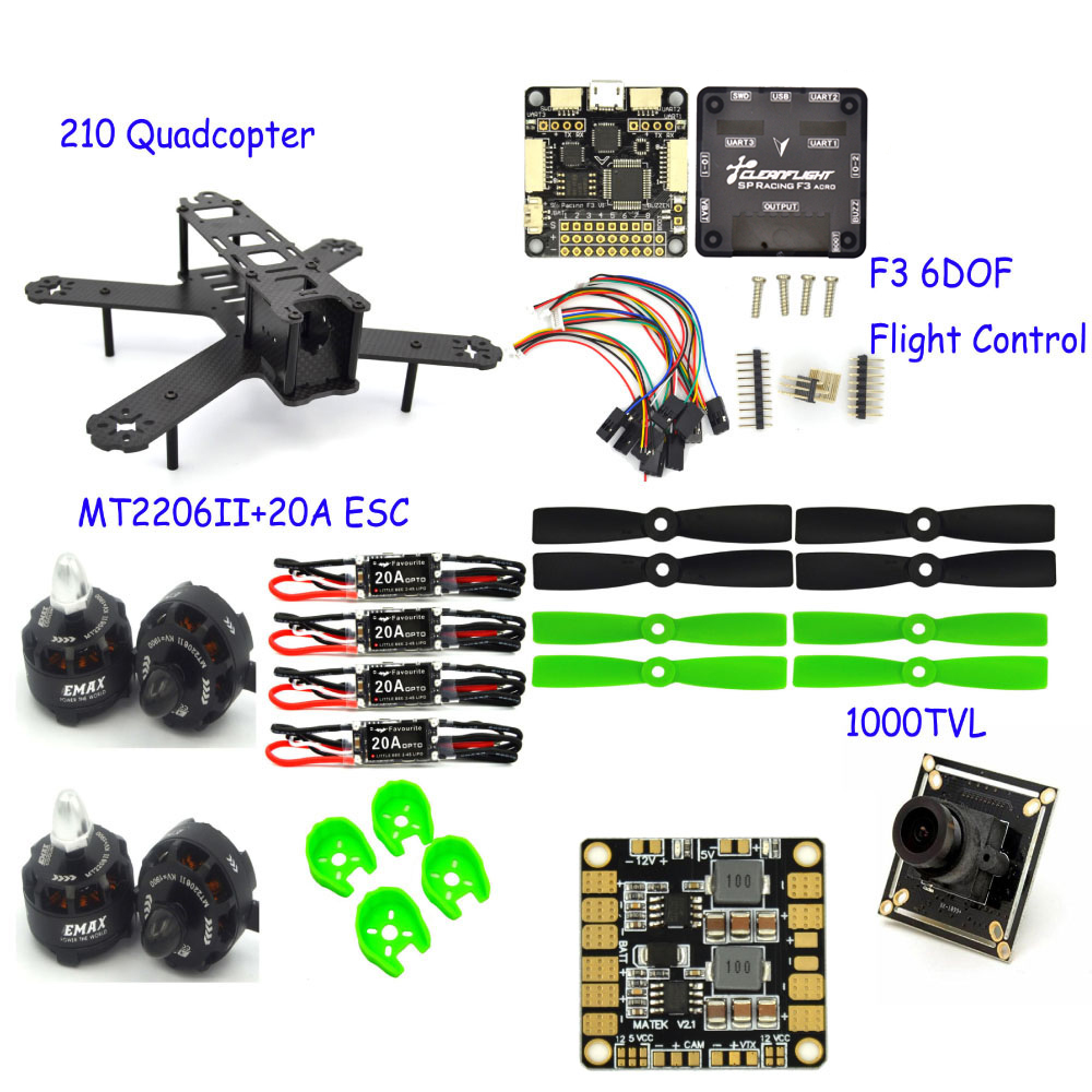 RC plane 210 Mm camera drone professional Carbon Fiber large Quadcopter Frame F3 Flight Controller 2206 1900kv Motor 4050 Prop frame f3 flight controller emax rs2205 2300kv qav250 drone zmr250 rc plane qav 250 pro carbon fiberzmr quadcopter with camera
