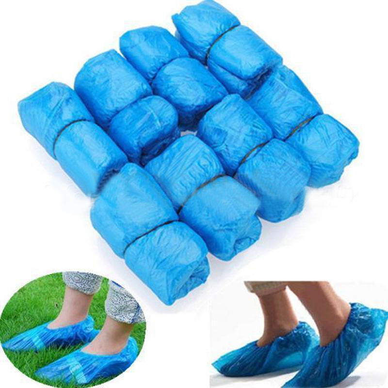 Dropship Hot Sale 1Pack/100 Pcs Medical Waterproof Anti Slip Boot Covers Plastic Disposable Shoe Covers Overshoes Safety
