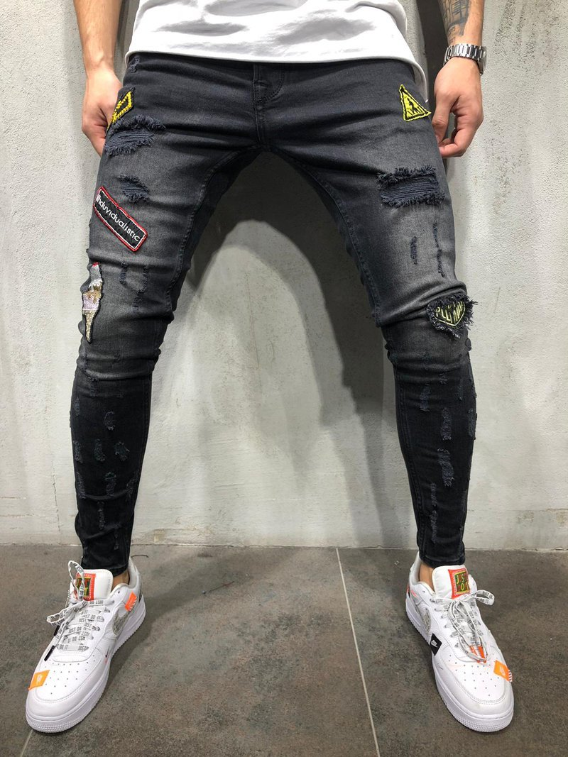 Streetwear Men's Jeans Vintage Blue Skinny Destroyed Ripped Jeans 2019 Broken Punk Pants Homme Hip Hop Jeans Men Trousers 4xl