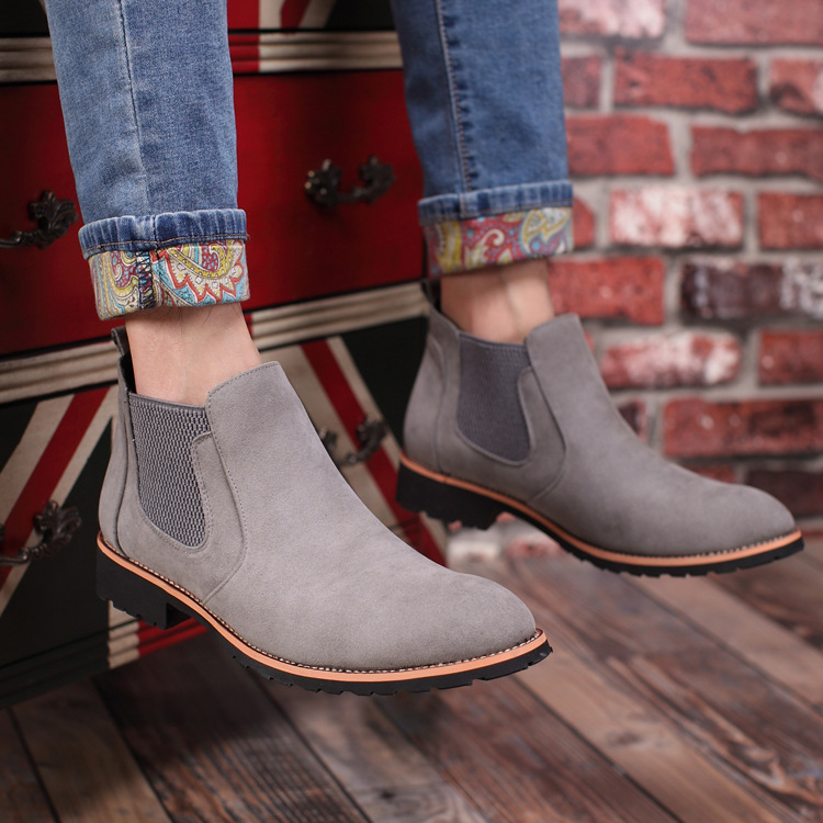Chelsea Boots Pointed Toe Men Suede Leather Kanye Black Brand Solid Spring Slip-on Ankle Casual Shoes Quality Free Shipping