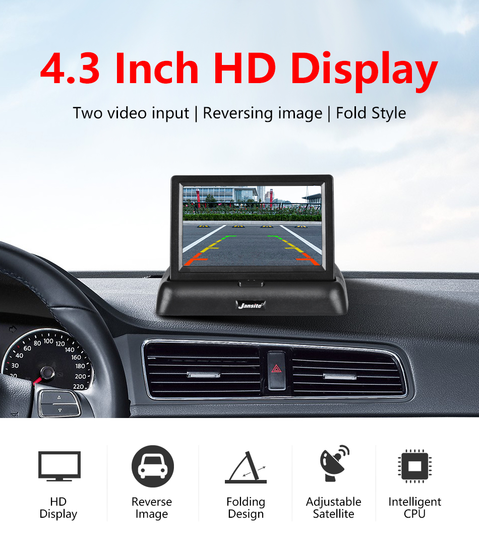 """Jansite 4,3 """"monitor de coche TFT LCD cámara de visión trasera. 1"""