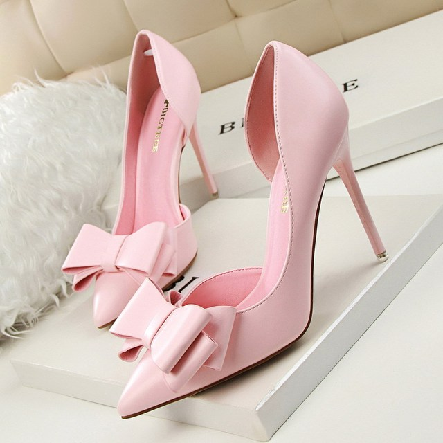 Women Pumps 2016 Sweet Bowknot High Heels Thin Purple Pink Heels Shoes Pointed Toe Stiletto Elegant Bowtie Wedding Shoes Zapatos