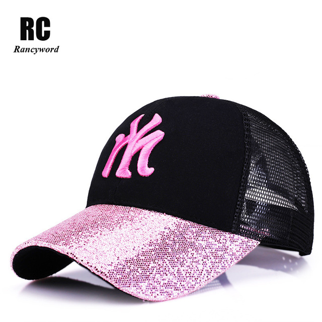 [Rancyword] 2019 New Branded Baseball Caps Canada Women's Cap With Mesh Bone Hip Hop Lady Embroidery Hats Sequins RC1134