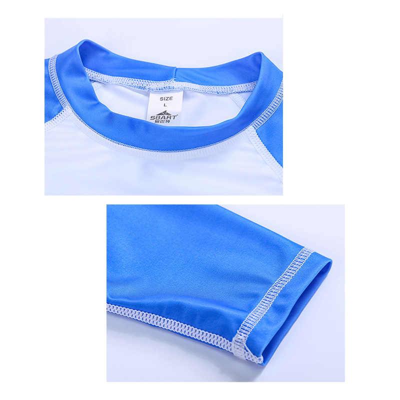 Sbart dziecięcy kostium kąpielowy koszula + Shorty ochrona UV stroje kąpielowe chłopiec 2-12 lat nastolatki Rashguard Beach Wear dwa kawałki Swimsui